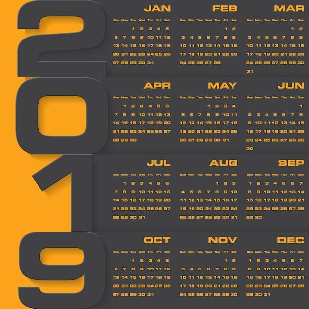 Calendrier de conception moderne 2019 Vecteur Premium
