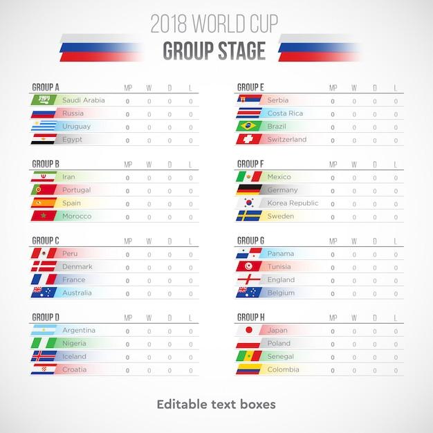 Calendrier De La Coupe Du Monde 2018 De Football En Russie Vecteur Premium