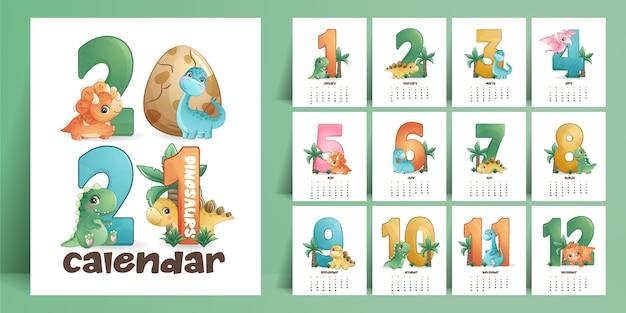 Calendrier De Dinosaures Mignon Pour La Collection De L'année Vecteur Premium