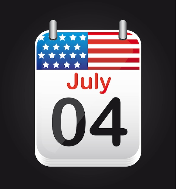 Calendrier du 4 juillet avec le drapeau des états-unis Vecteur Premium