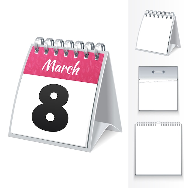 Calendrier du 8 mars Vecteur Premium