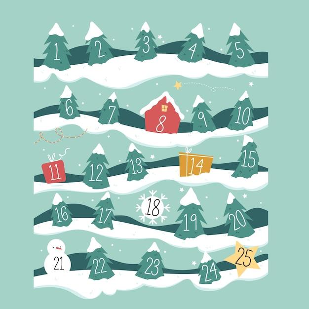 Calendrier Du Compte à Rebours Avec Les Jours De L'arbre De Noël Vecteur gratuit