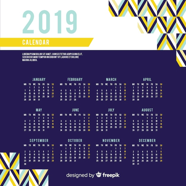 Calendrier du nouvel an 2019 Vecteur gratuit