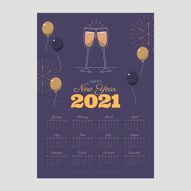 Calendrier Du Nouvel An 2021 Au Design Plat Vecteur Premium
