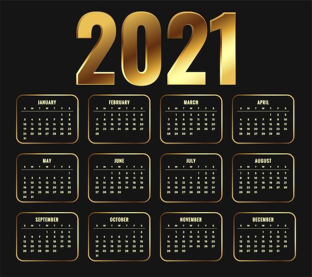 Calendrier Du Nouvel An 2021 Dans Un Design De Style Brillant Doré Vecteur gratuit