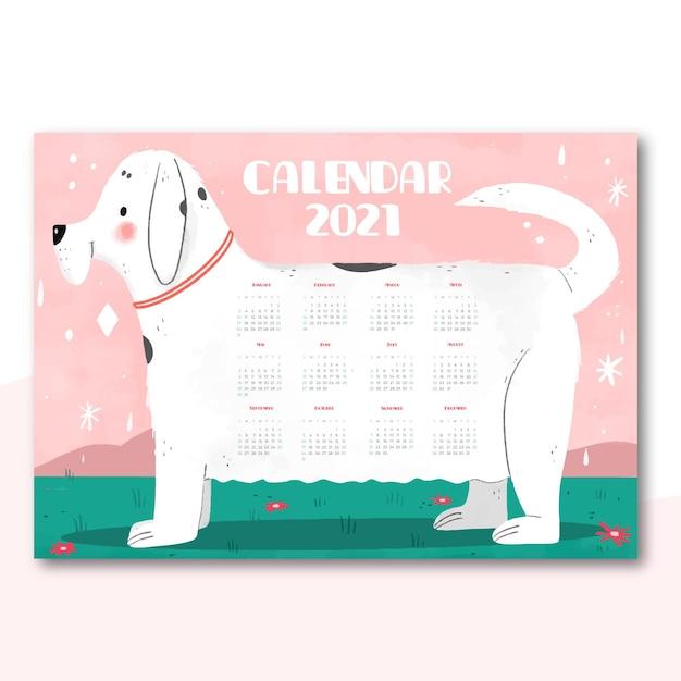 Calendrier Du Nouvel An 2021 Dessiné à La Main Avec Chien Vecteur gratuit
