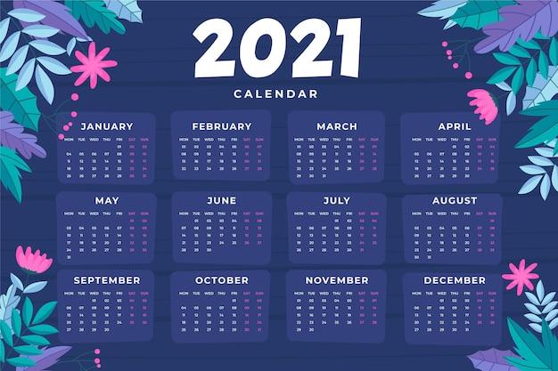 Calendrier Du Nouvel An 2021 Dessiné à La Main Vecteur Premium