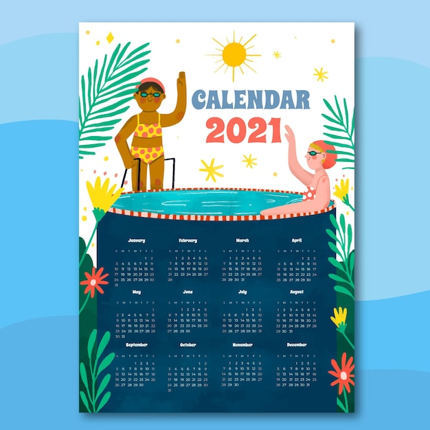 Calendrier Du Nouvel An 2021 Dessiné à La Main Vecteur gratuit