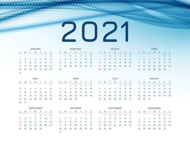 Calendrier Du Nouvel An 2021 Avec Vague Bleue élégante Vecteur Premium