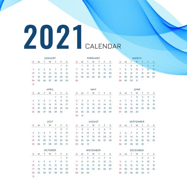 Calendrier Du Nouvel An 2021 Avec Vague Bleue élégante Vecteur gratuit