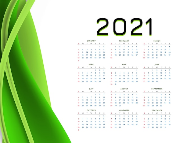 Calendrier Du Nouvel An 2021 Avec Vague Verte élégante Vecteur gratuit