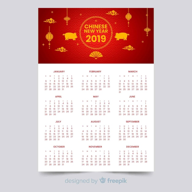 Calendrier du nouvel an chinois 2019 Vecteur gratuit