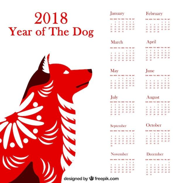 Calendrier du nouvel an chinois avec chien Vecteur gratuit