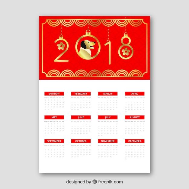 Calendrier Du Nouvel An Chinois Rouge Et Or Vecteur gratuit