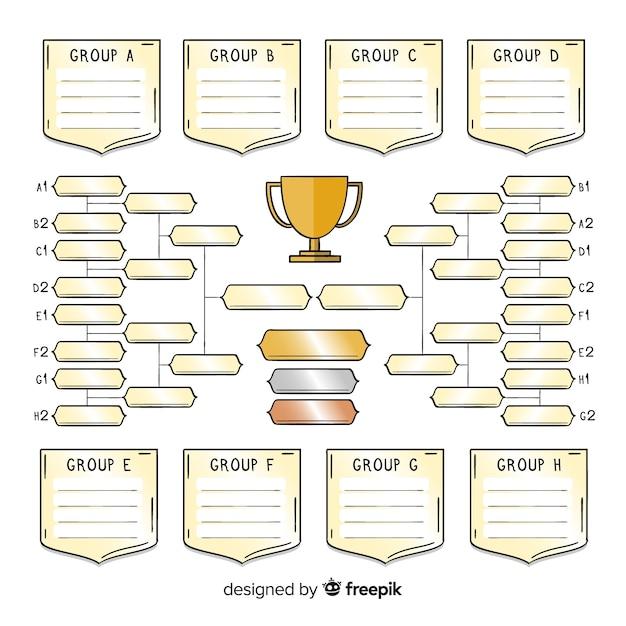 Calendrier du tournoi dessiné à la main moderne Vecteur gratuit