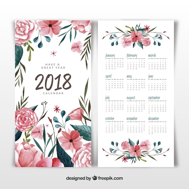 Calendrier floral et aquarelle 2018 Vecteur gratuit