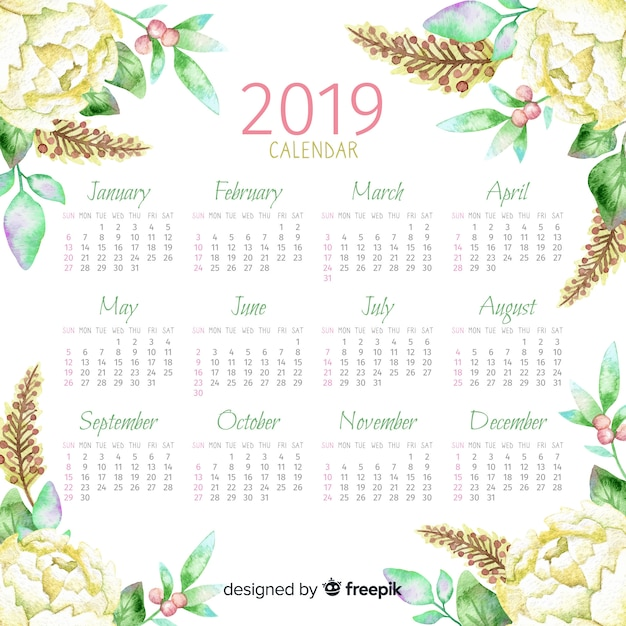 Calendrier floral aquarelle 2019 Vecteur gratuit