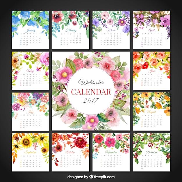 Calendrier floral mignon de 2017 Vecteur gratuit