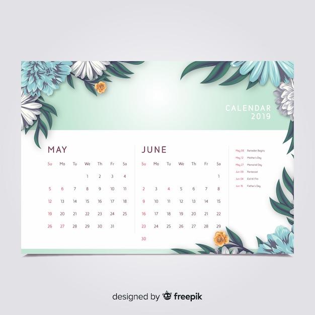 Calendrier floral Vecteur gratuit