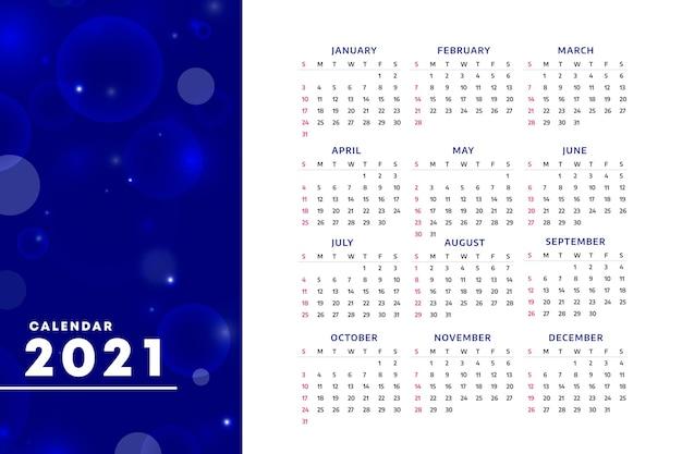 Calendrier Flou Du Nouvel An 2021 Vecteur Premium
