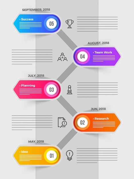 Calendrier De Travail.Calendrier Infographie Avec Cinq 5 Etapes Idee Recherche
