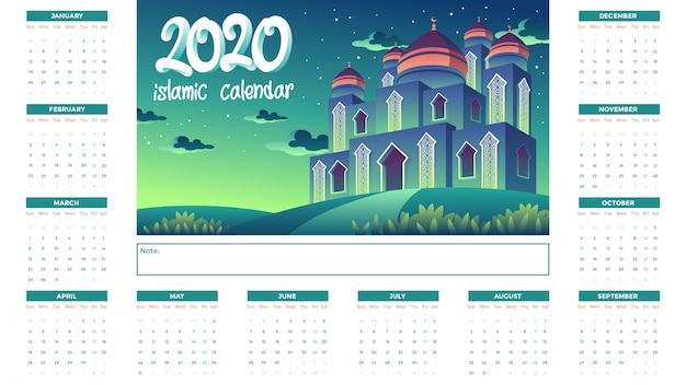 Calendrier Islamique 2020 Avec La Mosquée Verte La Nuit Vecteur Premium