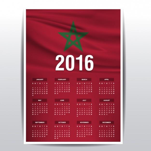 Calendrier Maroc 2016 Vecteur gratuit