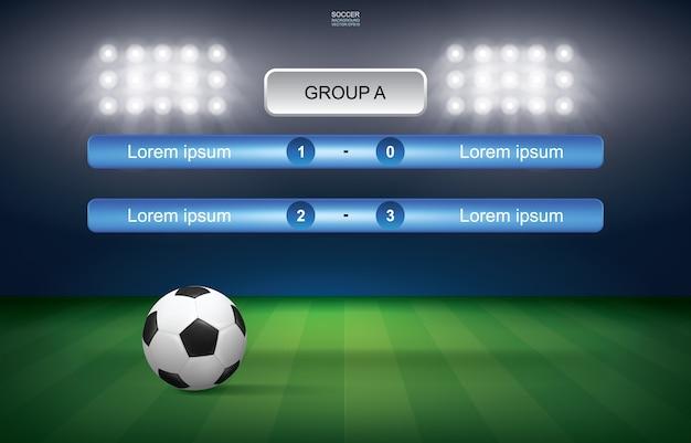 Calendrier des matchs de la coupe de football avec le fond du stade. Vecteur Premium