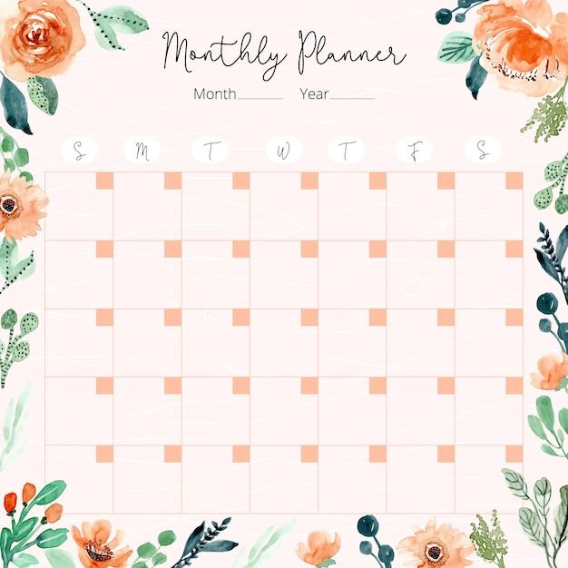 Calendrier mensuel avec cadre aquarelle floral vert orange Vecteur Premium