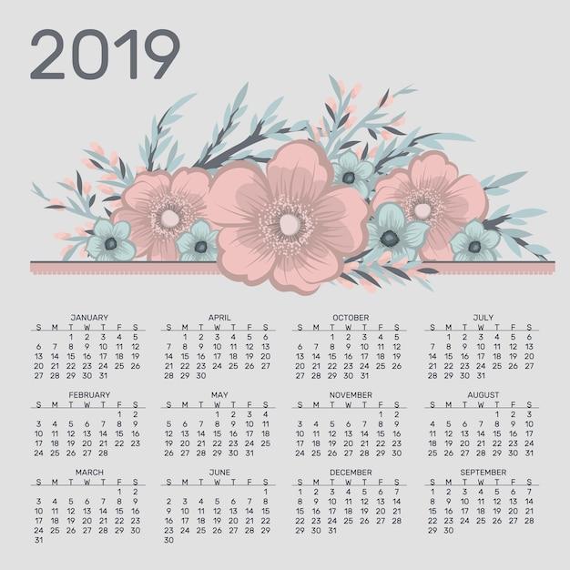 Calendrier mignon pour 2019 année Vecteur Premium
