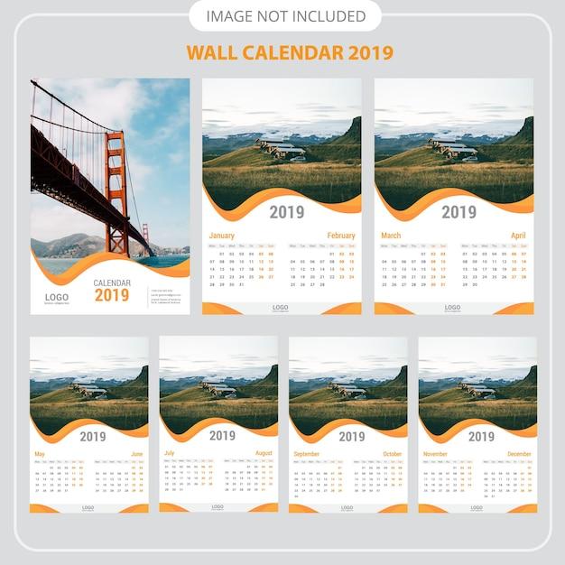 Calendrier mural 2019 Vecteur Premium