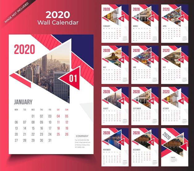 Modele De Calendrier 2020.Modele De Calendrier Mural 2020 Telecharger Des Vecteurs