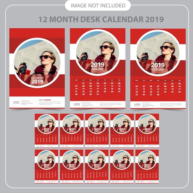 Calendrier Mural Rouge 2019 Vecteur Premium