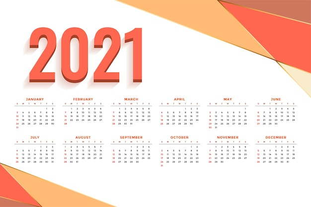 Calendrier De Nouvel An Abstrait Avec Des Formes Orange Vecteur gratuit