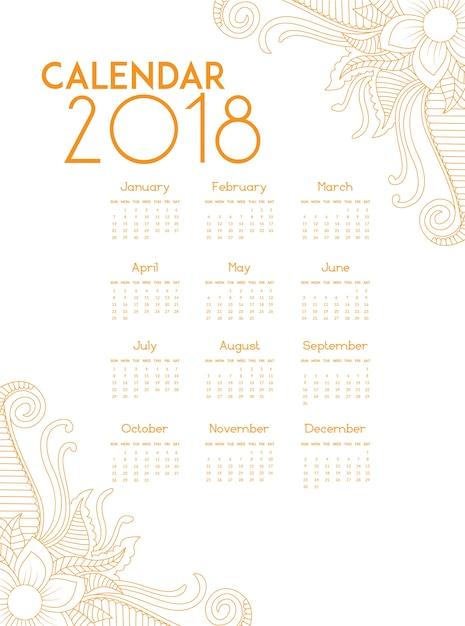 Calendrier D'or 2018 Vecteur gratuit