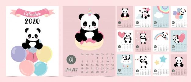 Calendrier pastel doodle réglé en 2020 avec un panda Vecteur Premium