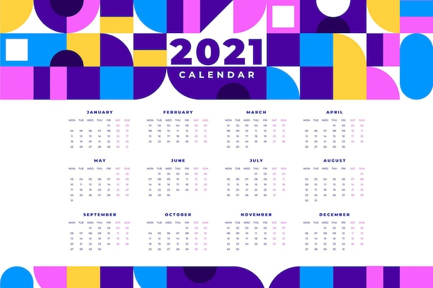 Calendrier Plat Coloré Nouvel An 2021 Vecteur Premium