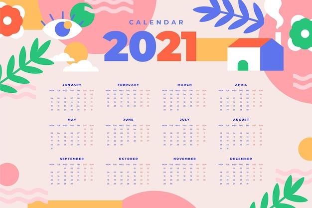 Calendrier Plat Nouvel An 2021 Vecteur Premium