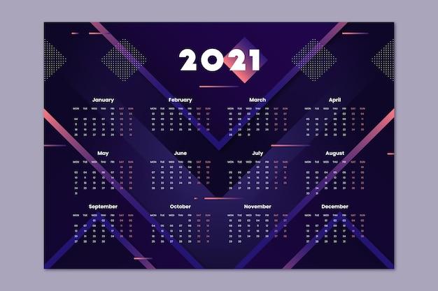 Calendrier Plat Nouvel An 2021 Vecteur gratuit