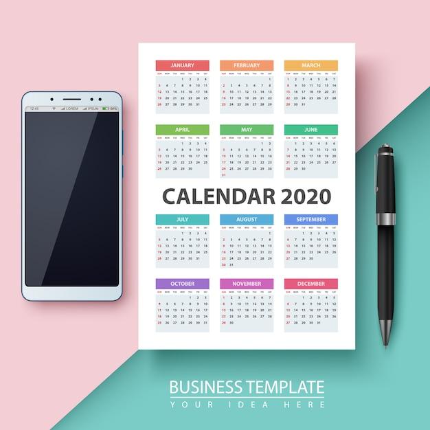 Calendrier pour l'année 2020. Vecteur Premium