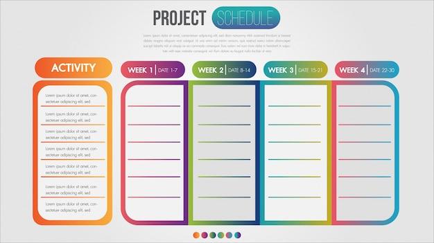 Calendrier De Projet Graphique Modèle De Conception Infographique Calendrier Quotidien Et Hebdomadaire Vecteur Premium