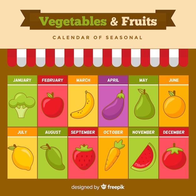 Calendrier saisonnier coloré de fruits et légumes Vecteur gratuit