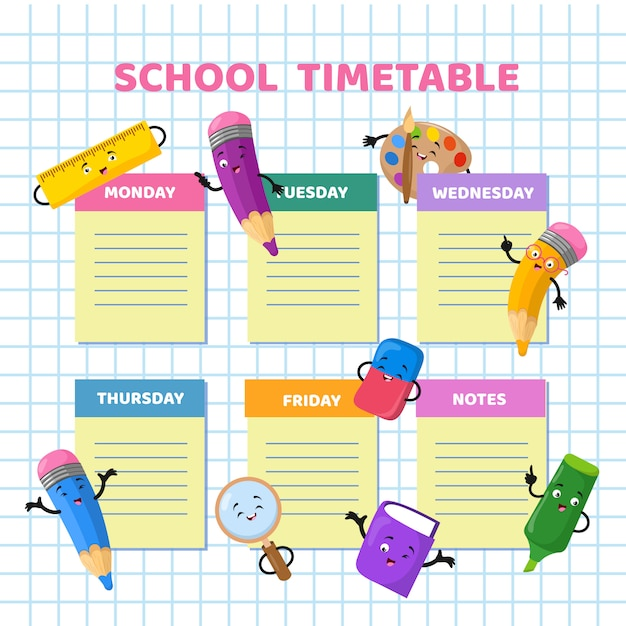 Calendrier scolaire avec des personnages de papeterie drôle de bande dessinée. modèle vectoriel de calendrier hebdomadaire enfants Vecteur Premium