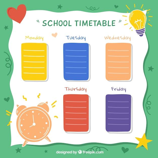 Calendrier scolaire pour organiser des activités Vecteur gratuit