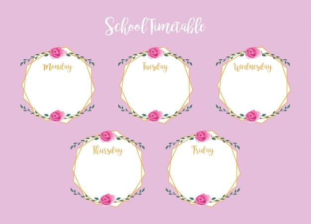 Calendrier scolaire avec des roses et des feuilles Vecteur Premium