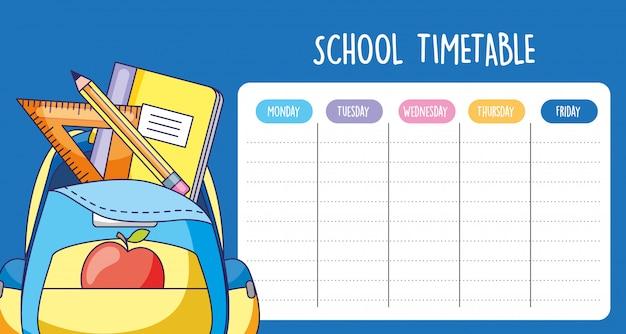 Calendrier scolaire avec sac avec fournitures scolaires Vecteur Premium