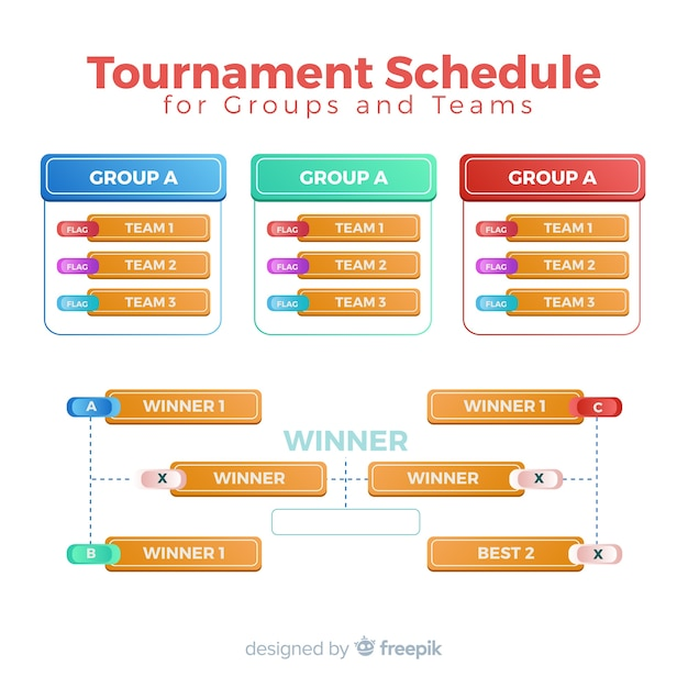 Calendrier de tournoi coloré avec un design plat Vecteur gratuit