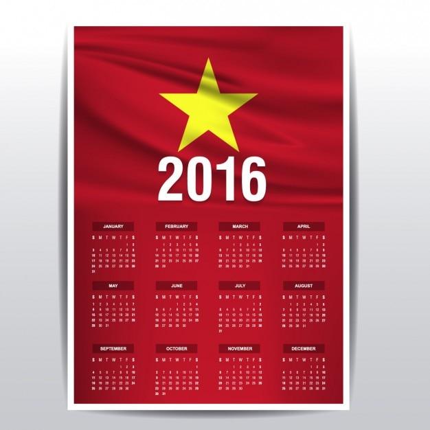 Calendrier vietnam 2016 Vecteur gratuit