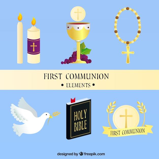 Le Calice Et Les Autres éléments De La Première Communion Vecteur gratuit