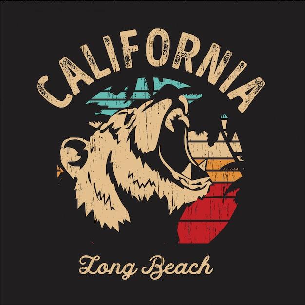 California beach bear Vecteur Premium